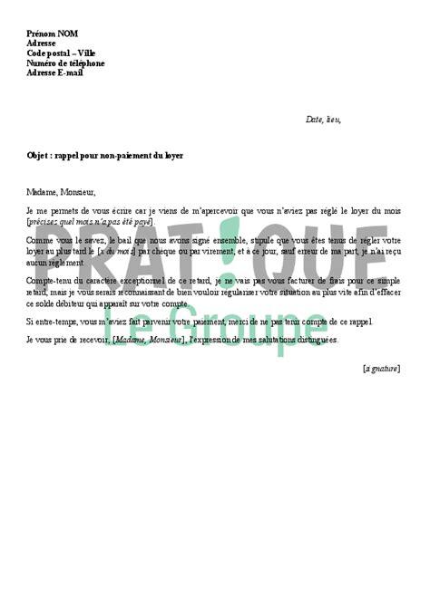 Exemple De Lettre Loyer Impayé Modele Lettre Non Paiement Loyer Document