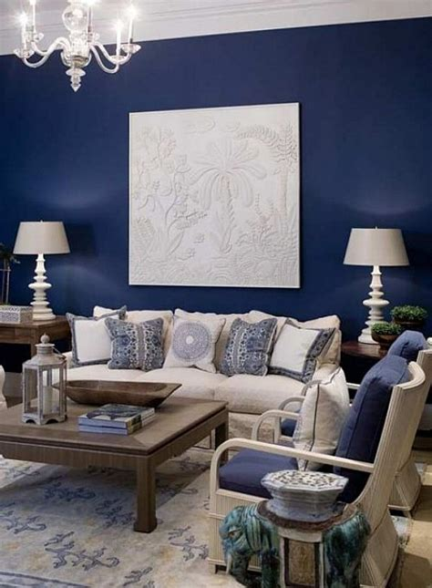 blue living room decorating ideas ingrid pinterest blue accent wall with cream fabric and dark wood for