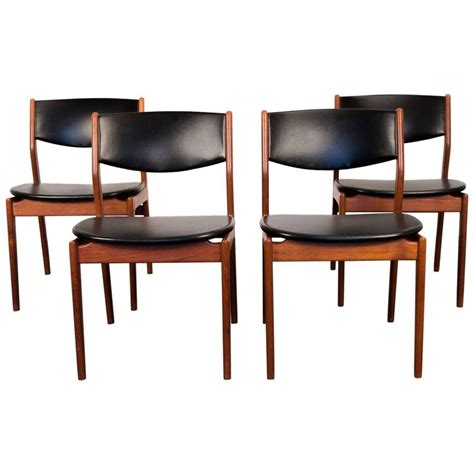 Teak Dining Room Furniture Four Scandinavian Teak Dining Chairs At 1stdibs