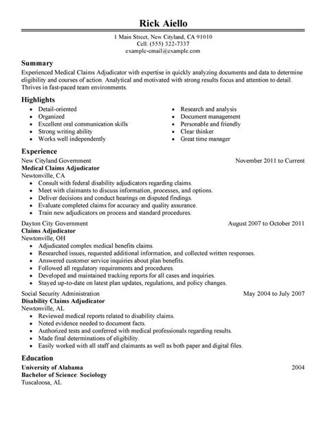 Example Of Cover Letter For Resume by Medical Claims Adjudicator Experienced Resume Examples