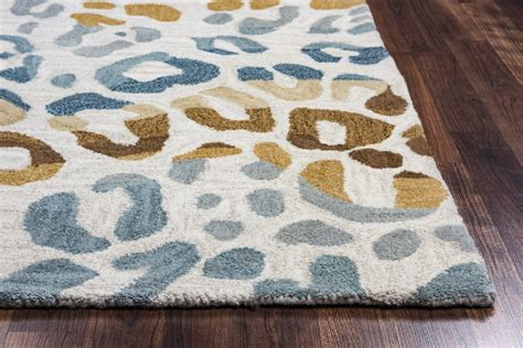 brown pattern rug valintino cheetah pattern wool area rug in brown blue tan