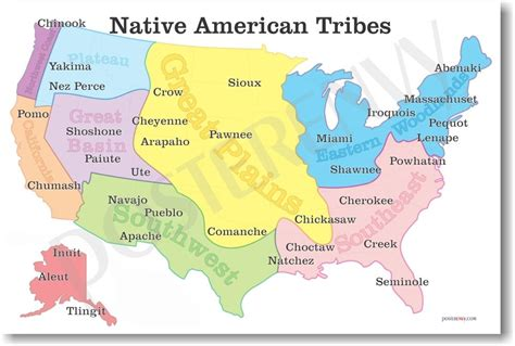 map us indian tribes new american history educational classroom poster
