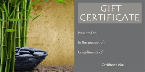 spa gift certificate template free download