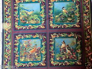 bird fabric 4 pillow panel or quilt top garden wings bty birds and flowers new ebay