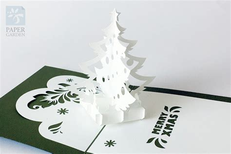 papercut template pop up card christmas tree instant