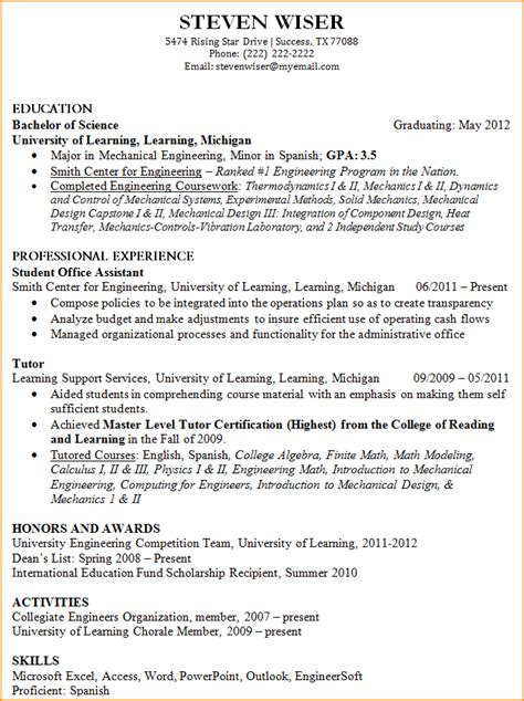 resume exles for students with experience resume for college graduate with experience