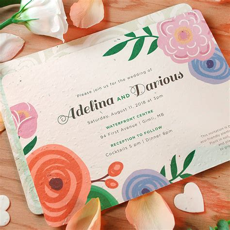Wedding Invitation Paper by Seed Paper Seeded Cards Plantable Wedding Invitations