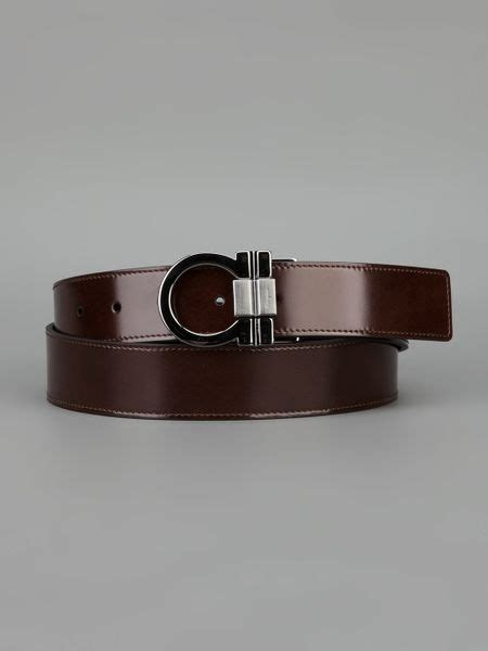 ferragamo embossed brand buckle belt in brown for lyst