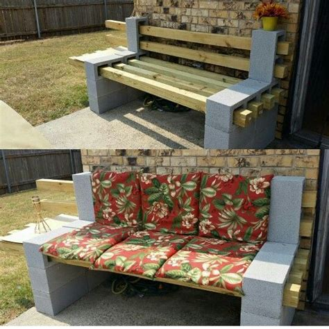 bench made from cinder blocks cinder block n 4x4s bench w a side table things my