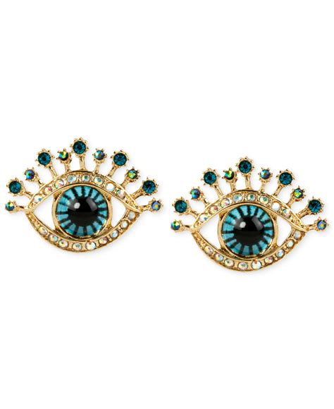 betsey johnson gold tone glass and enamel eye stud