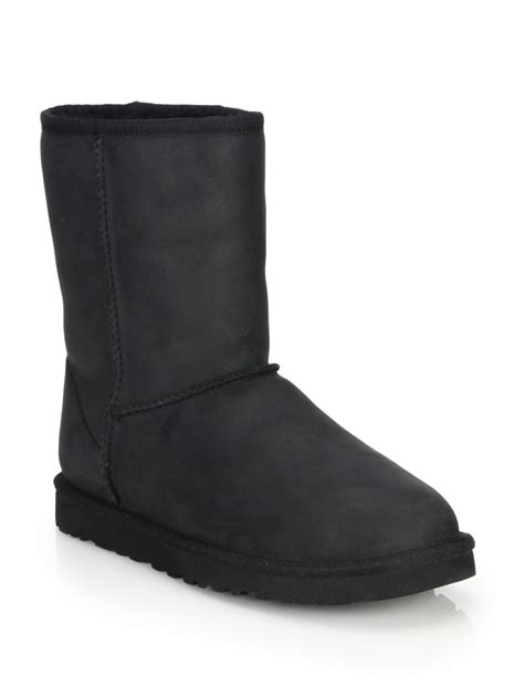 black leather ugg boots ugg classic leather uggpure boots in black lyst