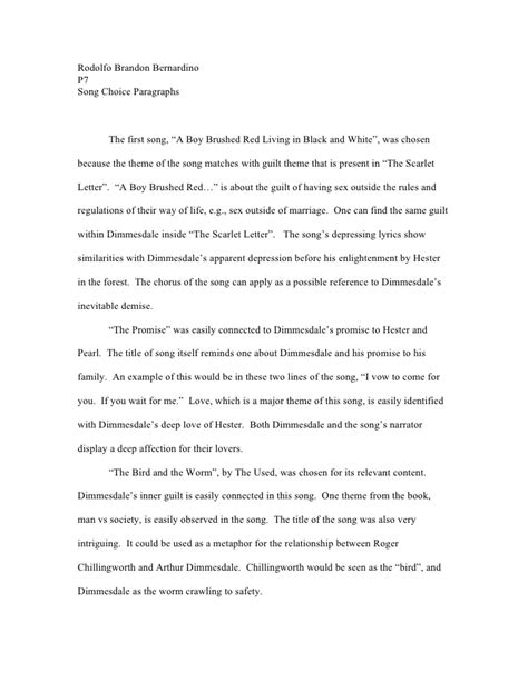 The Scarlet Letter Analysis Essay by Scarlet Letter Songs Essay