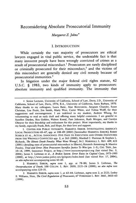 Reconsidering Absolute Prosecutorial Immunity 2005 Brigham