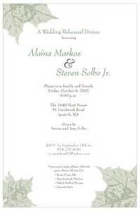 dinner invitation template rehearsal dinner invitation template sle invitation