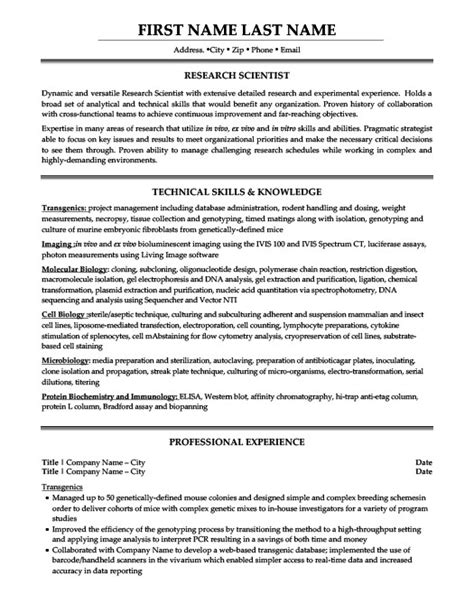 research scientist resume template premium resume sles exle
