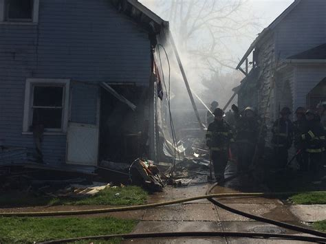 west side house cleveland firefighters battle flames from suspected west side house explosion fox8 com