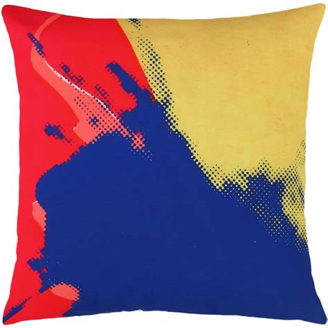 Andy Warhol Pillow by Andy Warhol Pillow In Blue Yellow Design By