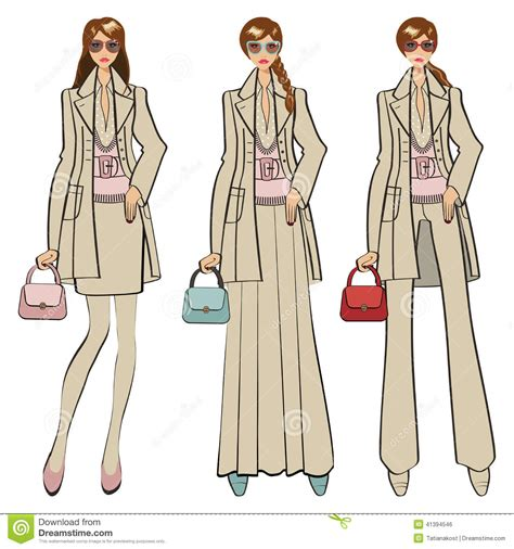 fashion illustration with background three trendy fashion illustration stock vector illustration of couture blue 41394546