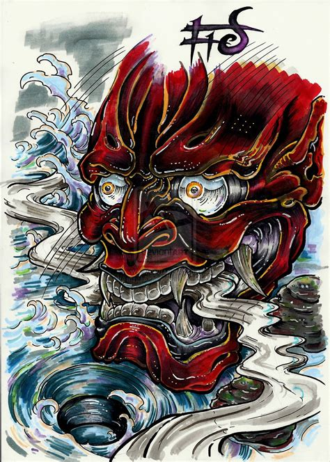 oni mask tattoo designs collection of 25 oni
