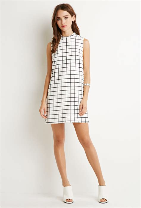Black Grid Dress Size L forever 21 grid pattern shift dress in white lyst