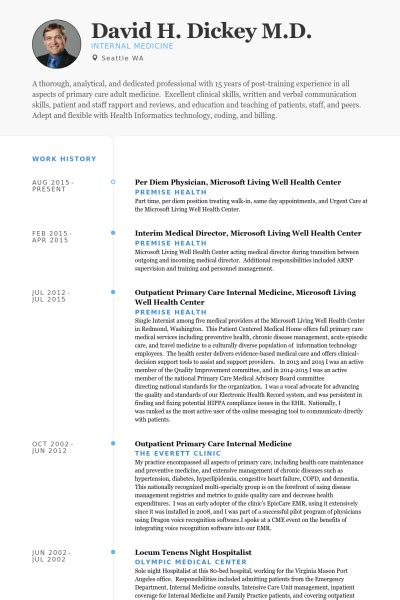 Physician Resume Sles Visualcv Resume Sles Database Physician Cv Template