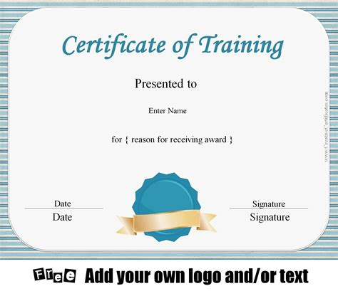 Free Certificate of Training Template   Customizable