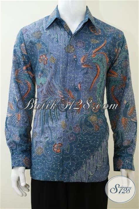 desain baju lengan panjang online trend kemeja batik sutra masa kini dengan desain motif