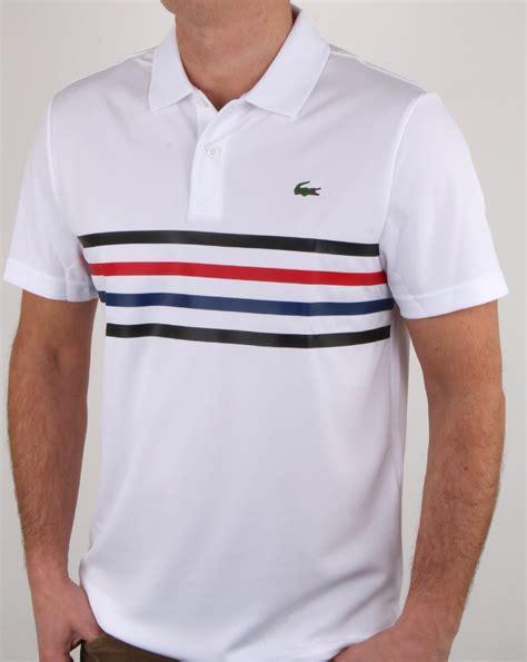 Lacoste Stripe lacoste chest stripe polo shirt white black mens