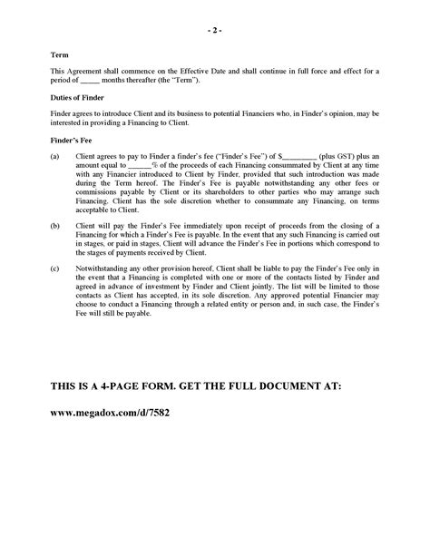 finders fee agreement template canada finder s fee agreement for identifying potential