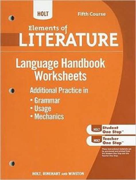 elements of grammar books holt elements of literature grammar usage and mechanics