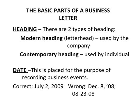 business letter basic parts basic and miscellaneous parts of business letter