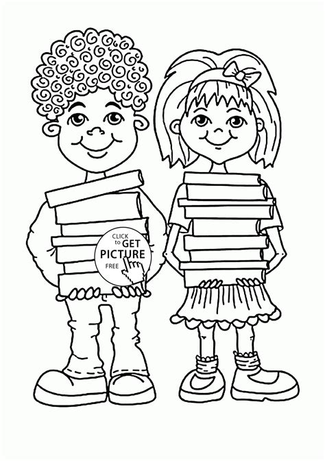 coloring pages of school books children with school books coloring page for kids back to