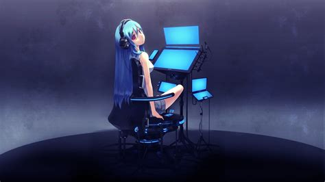 wallpaper laptop girl anime techno girl wallpaper hdwallpaperfx pinterest