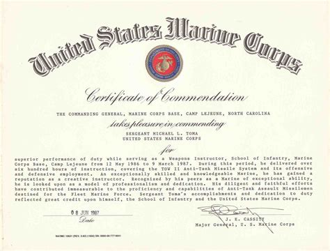 certificate of commendation template usmc certificate of commendation template write happy ending