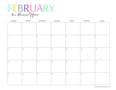 February 2015 Printable Calendar February Calendar 2015 New Calendar Template Site
