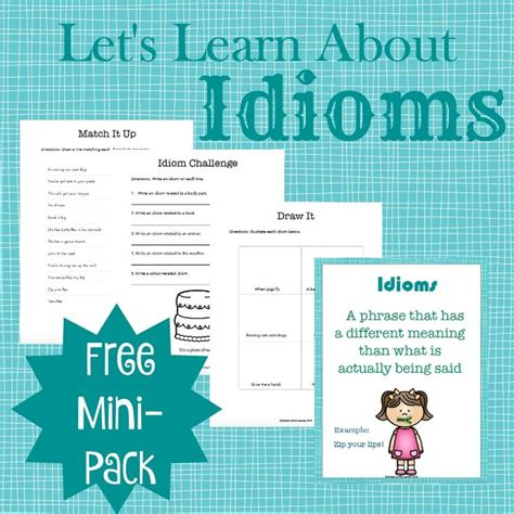 picture books with idioms teaching idioms with picture books free printables