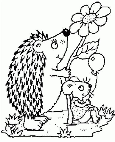 igel und maus mit ballon ausmalbild malvorlage tiere
