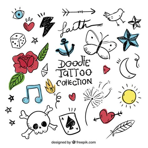 free doodle vector set doodles set of colored tattoos vector free