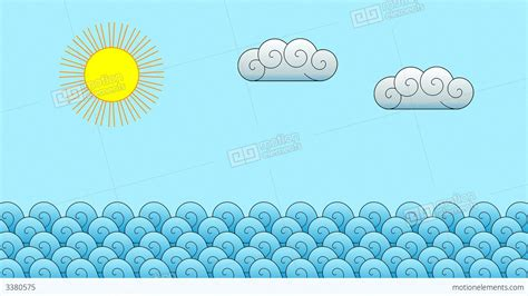 motions of the ocean comic cartoon ocean motion background stock animation 3380575