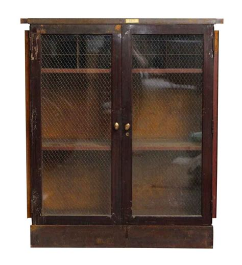 metal and glass cabinet metal cabinet with chicken wire glass front olde things