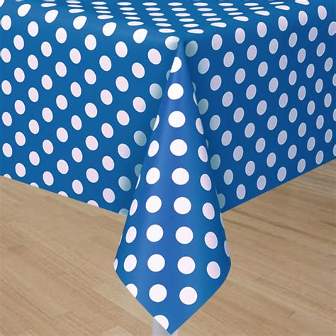 royal blue table covers royal blue plastic table cover with white polka dots
