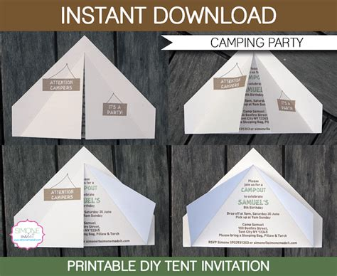 camp out invitations printable free camping tent invitation template girl scouts camping