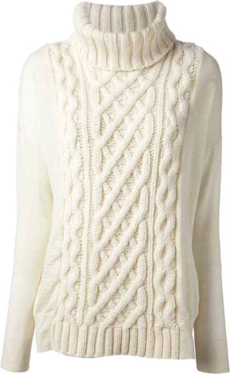 white cable knit sweater gucci blue cable knit turtleneck sweater in blue for