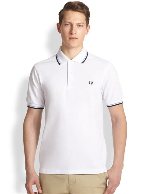 T Shirt Polo Fred Ferry fred perry tip polo shirt in white for lyst