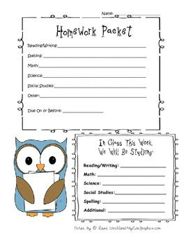 Homework Cover Sheet by Homework Packet Cover Sheet By Creative Learning Ideas Tpt