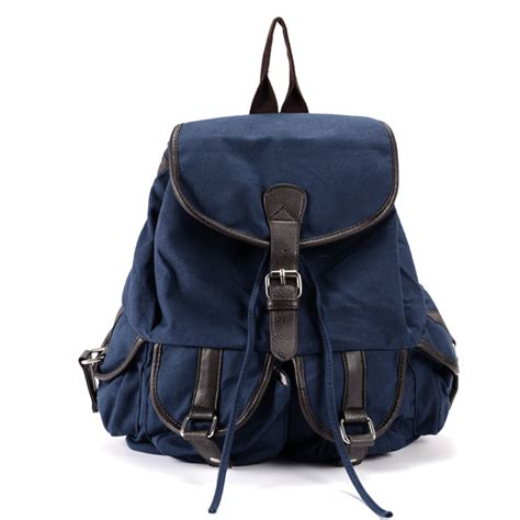 Plain Canvas Backpack With Pouch unisex plain blue canvas backpack w pu leather trim