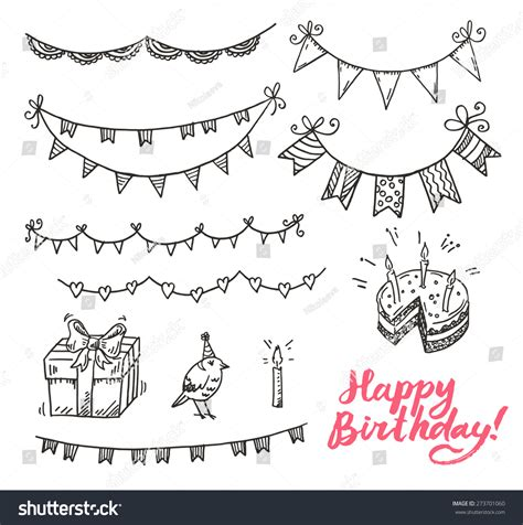 Happy Birthday Doodle Elements Set Stock Vector 273701060