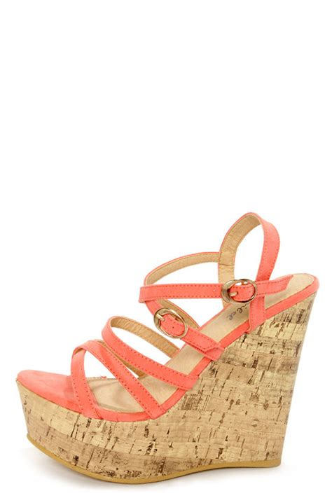 coral wedge sandals amya 1 coral strappy platform wedge sandals 34 00