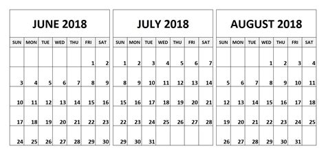 printable calendar july august 2018 june july august 2018 calendar printable 2018 calendar