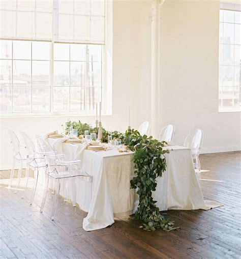 eucalyptus table runner minimal organic white wedding inspiration green